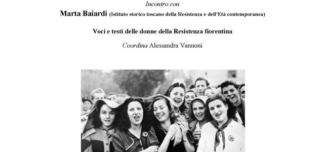 """Incontro con Marta Baiardi-Voci e testi delle donne della Resistenza fiorentina <span class=""""dashicons dashicons-calendar""""></span>"""